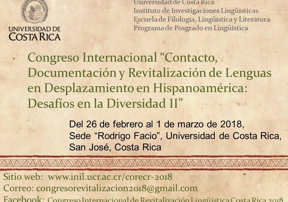 """Congreso Internacional """"Contacto, documentación y revitalización de lenguas en desplazamiento en Hispanoamérica: Desafíos en la diversidad II"""""""